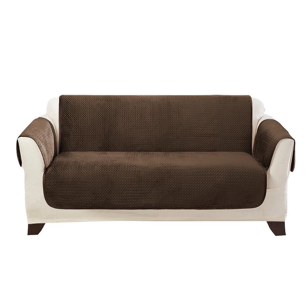 Enjoyable Elegant Pick Stitch Loveseat Furniture Cover Smokey Brown Machost Co Dining Chair Design Ideas Machostcouk