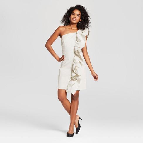 Womens Striped One Shoulder Ruffle Mini Dress Who What Wear