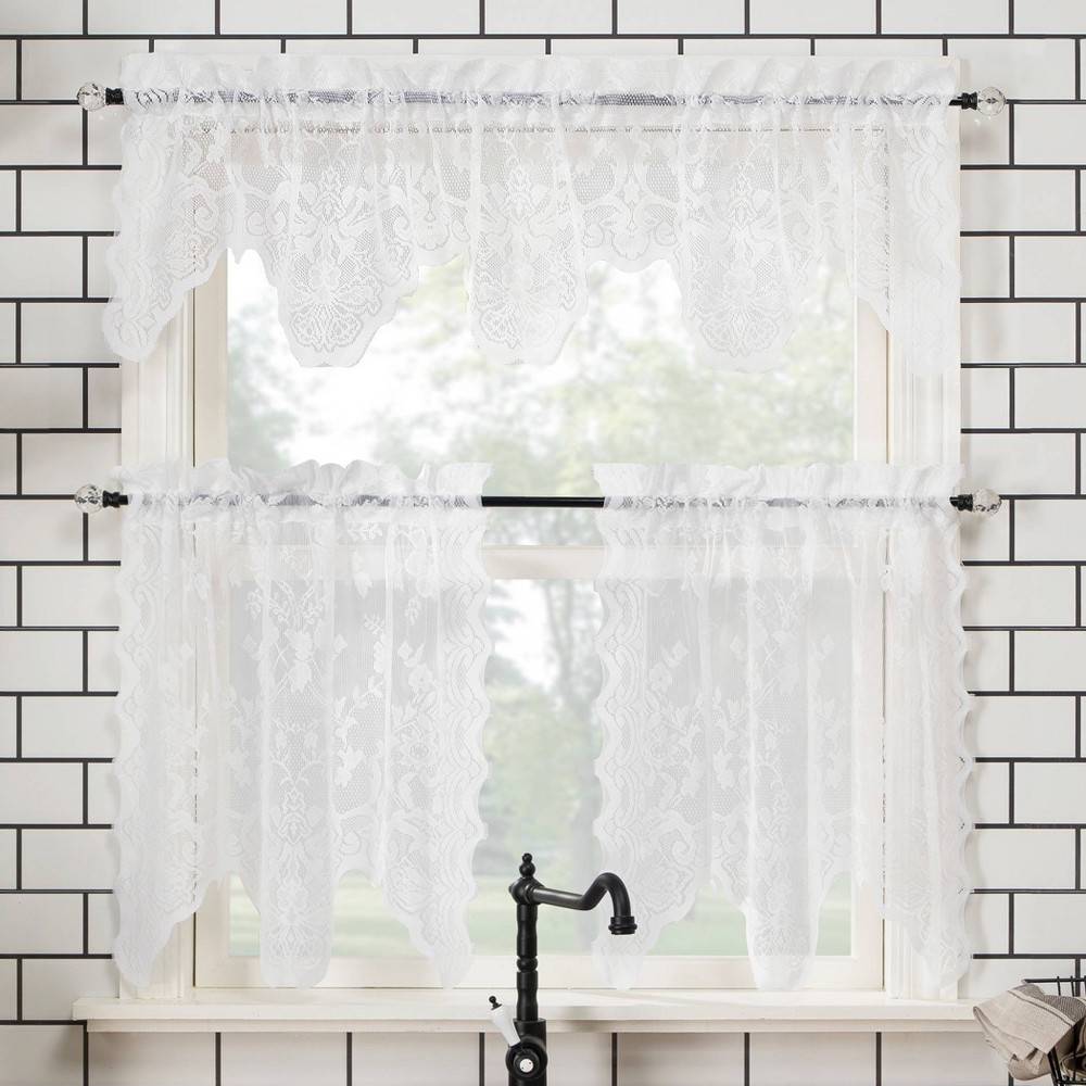 "Image of ""58""""x24"""" Alison Floral Lace Sheer Rod Pocket Kitchen Curtain Valance and Tiers Set White - No. 918"""