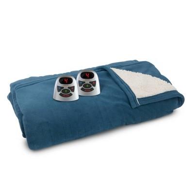 Full/Queen Microplush & Sherpa Electric Bed Blanket Metallic Blue - Biddeford Blankets