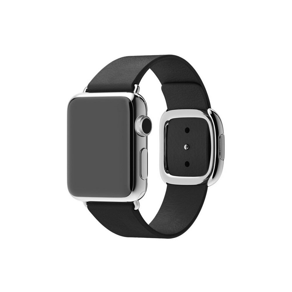 iPM Smooth Granada Leather Replacement Band with Modern Buckle 42mm - Black, Adult Unisex