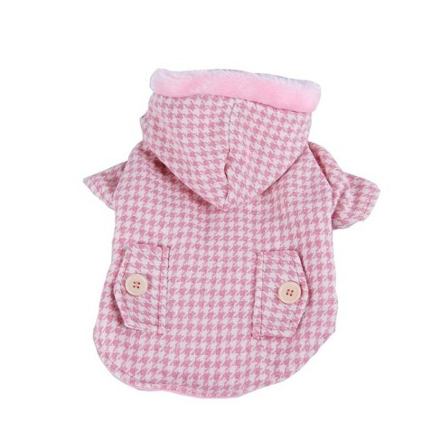 Pet Clothes Pink Soft Clothes Hundstooth Jacket Hoodie Coat For Puppy Dog