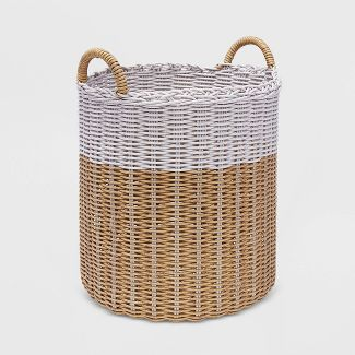 "15"" Wicker Decorative Basket Tan & White - Threshold™"