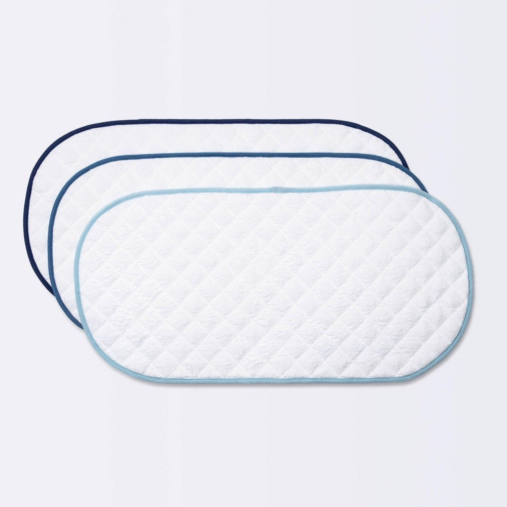Changing Pad Liner White With Blue Edge Cloud Island 8482 3pk