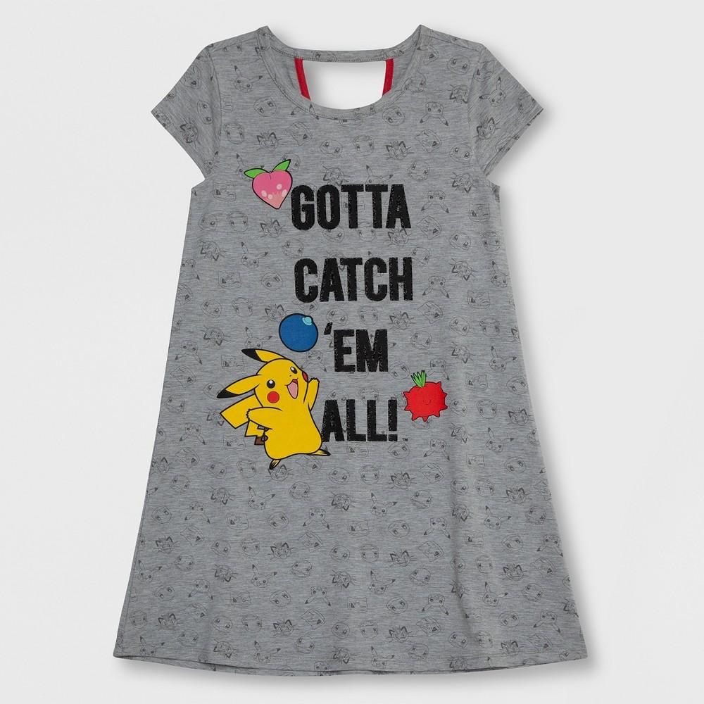 Girls' Pokemon Pikachu Dress - Heather Gray XL