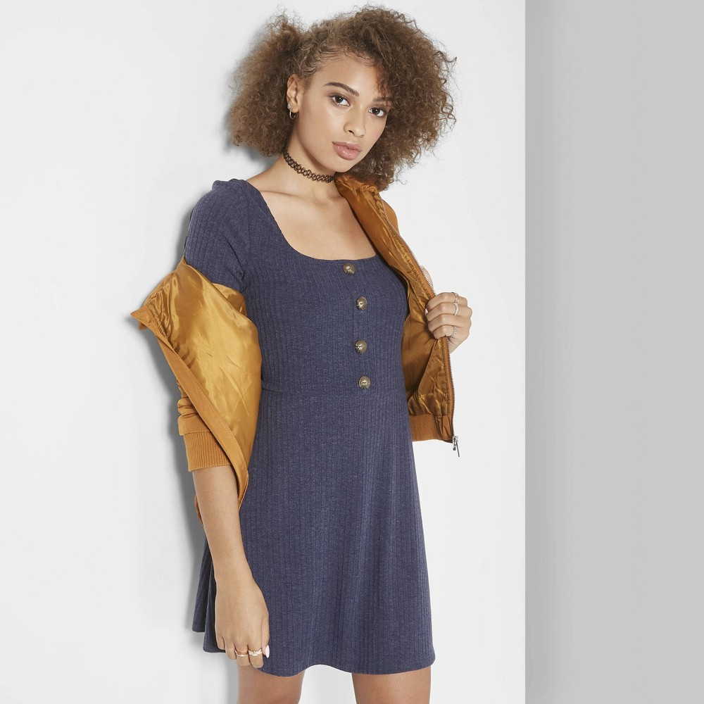 Women's Long Sleeve Button Front Knit Dress - Wild Fable Navy (Blue) XS