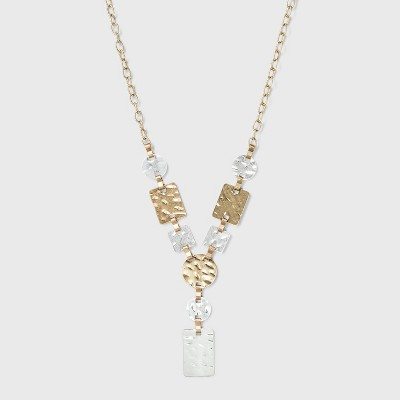Worn Hammered Metal Multi-Shapes Pendant Necklace - A New Day™ Gold