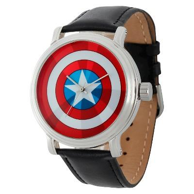 Men's Marvel Captain America Vintage Shiny with Alloy Case - Black