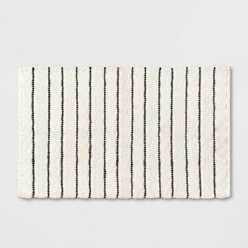 Striped Bath Rug White/Black - Opalhouse™ - image 1 of 4