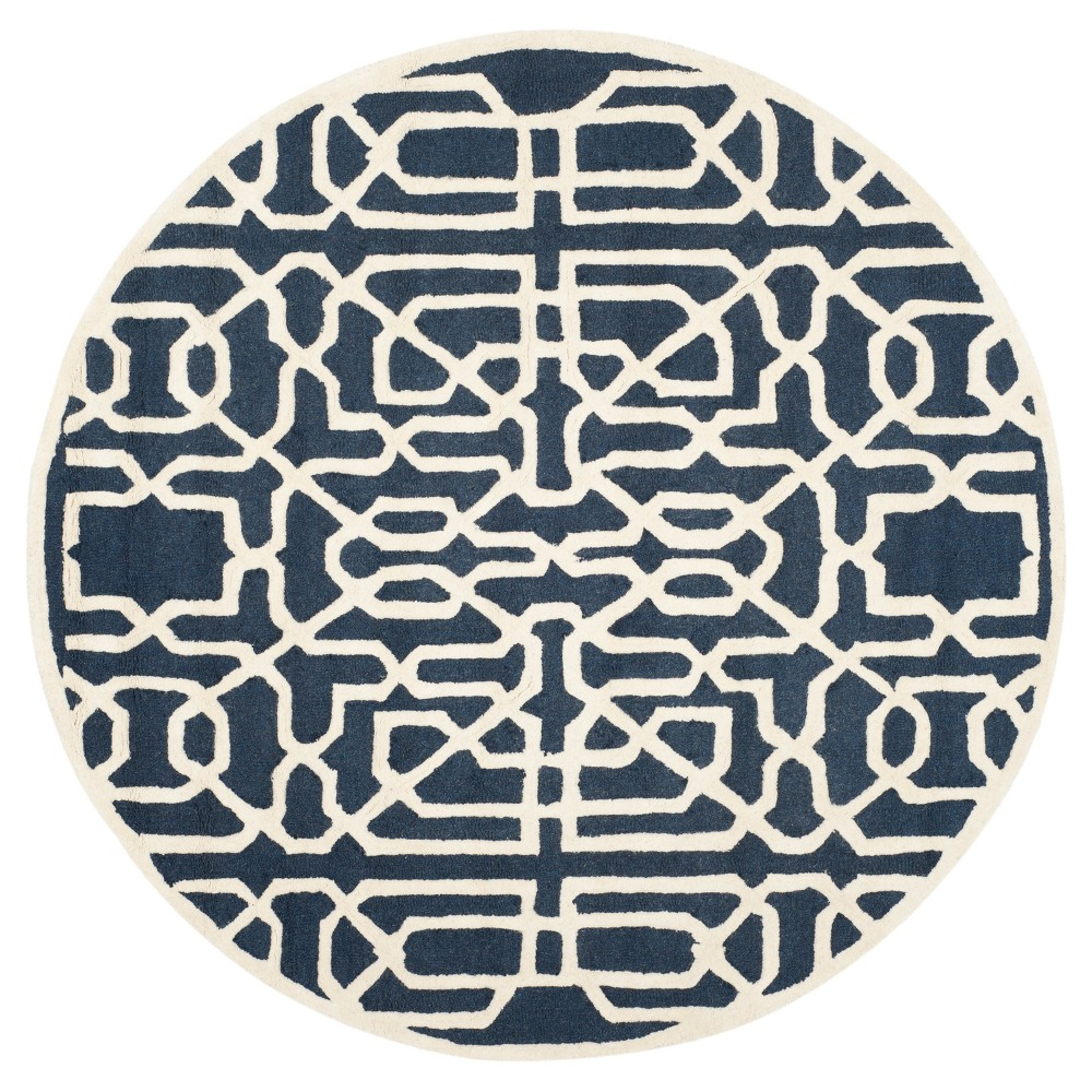Safavieh Wooster Area Rug - Navy / Ivory ( 6' Round ), Blue/Ivory