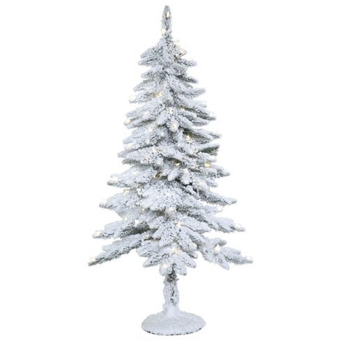 4ft artificial christmas tree slim snowy alpine with 100 warm white led style lights