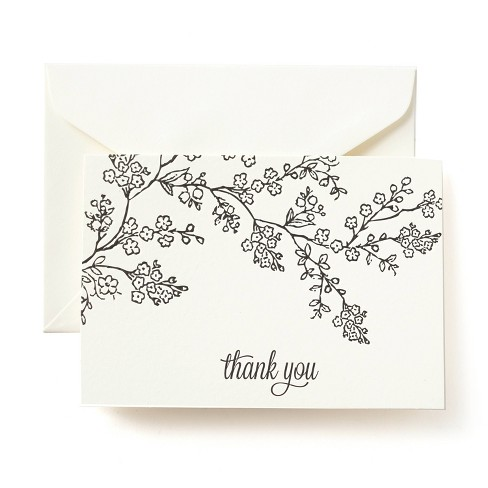50ct Blank Thank You Cards Floral - image 1 of 3