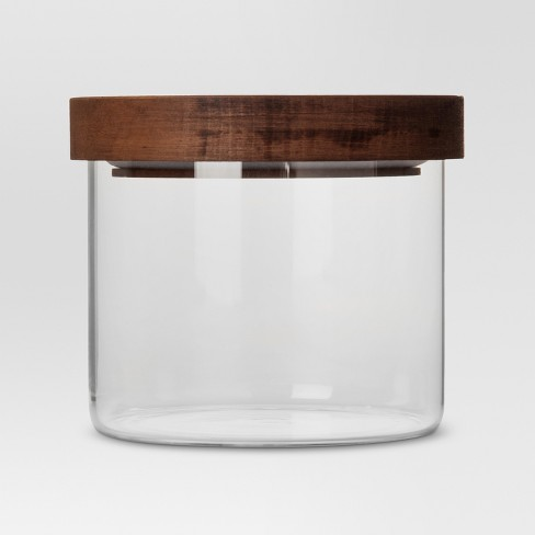 glass storage canister with wood lid extra small threshold target. Black Bedroom Furniture Sets. Home Design Ideas