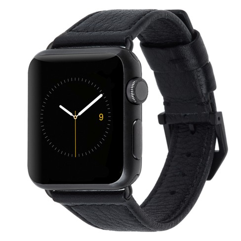 new product 5c454 ec90f Apple Watch Series 2 Case-Mate Leather Band 38mm - Black Pebbled with Gold  Hardware