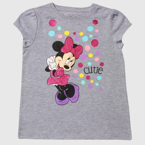 Toddler Girls' Minnie Mouse Short Sleeve Cutie T-Shirt - Heather Gray - image 1 of 2