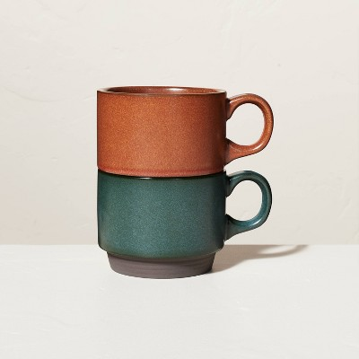 13oz Solid Stackable Stoneware Mug Set Dark Green & Cinnamon - Hearth & Hand™ with Magnolia