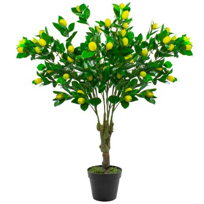 """Northlight 45"""" Potted Green and Yellow Artificial Lemon Tree In a Black Pot"""