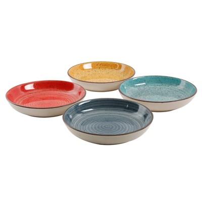 Gibson Home 30oz 4pk Stoneware Color Speckle Pasta Bowl Set
