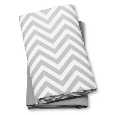 Fitted Playard Sheets Chevron & Solid 2pk - Cloud Island™ Gray/White