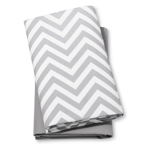 Fitted Playard Sheets Chevron & Solid 2pk - Cloud Island™  Gray/White - image 1 of 2