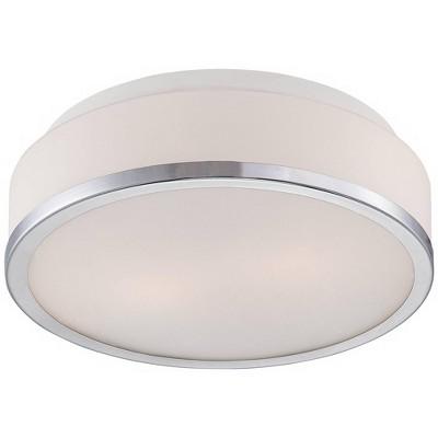 "Possini Euro Design Modern Ceiling Light Flush Mount Fixture Drum Chrome 10 1/4"" Wide Opal Glass for Bedroom Kitchen Hallway"