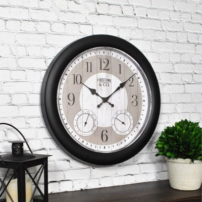 "12"" First Time Summer Cottage Outdoor Wall Clock Charcoal"