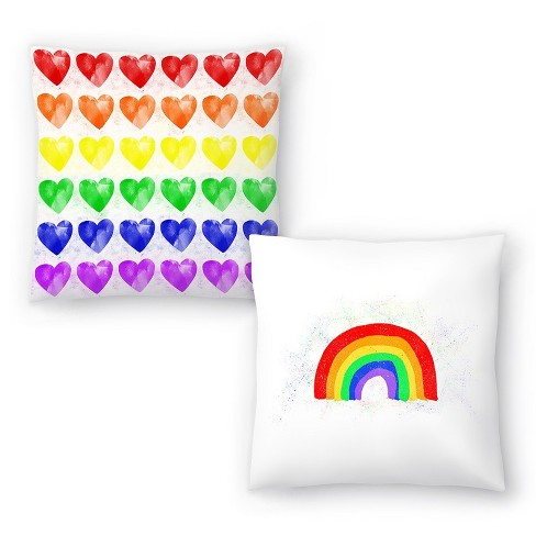 Americanflat Rainbow Hearts And Rainbow Love By Leah Flores Set Of 2 Throw Pillows Target