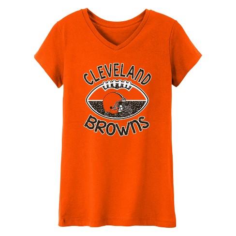NFL Cleveland Browns Girls' Represent V-Neck T-Shirt L - image 1 of 1