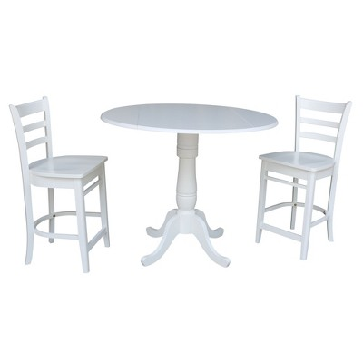 "42"" Round Top Pedestal Gathering Height Drop Leaf Table with 2 Counter Height Stools Dining Sets White - International Concepts"