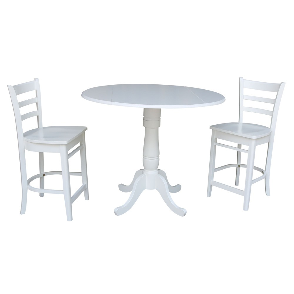 42 Round Top Pedestal Gathering Height Drop Leaf Table with 2 Counter Height Stools White - International Concepts