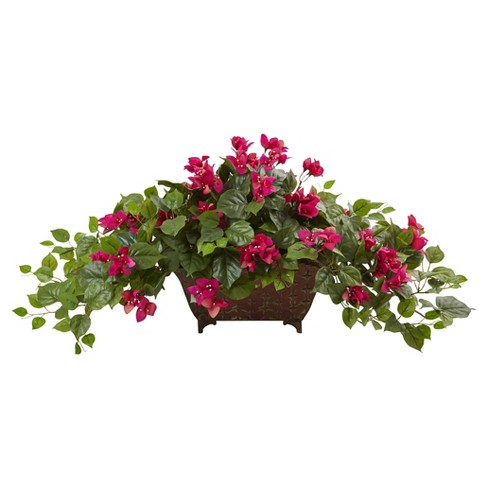 Bougainvillea in Metal Planter Pink - Nearly Natural - image 1 of 1