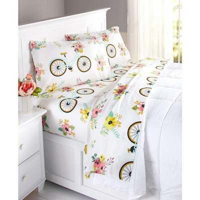 Lakeside Floral Bicycle Sheet Set With Colorful, Vintage-Style Farmhouse Print