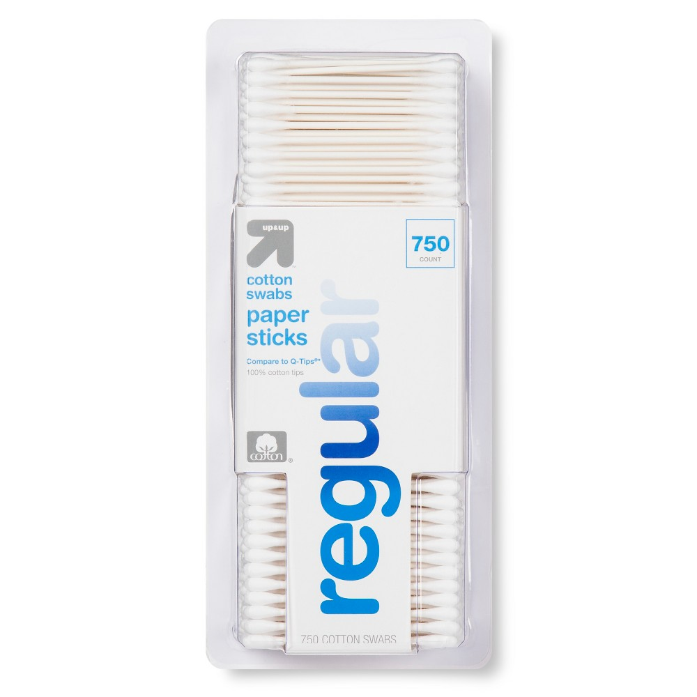 Regular Cotton Swabs Paper Sticks - 750ct -Up&Up (Compare to Q-Tips)