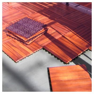 Vifah 8 Slat Eucalyptus Interlocking Deck Tile   Brown (Set Of 10) : Target