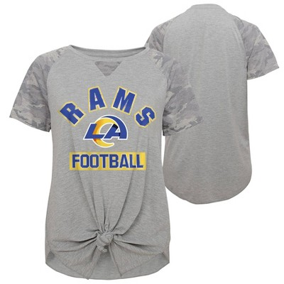 NFL Los Angeles Rams Women's Short Sleeve Front Knot T-Shirt