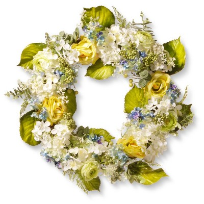 Artificial Spring Flowers Wreath Blue&Yellow 30  - National Tree Company®