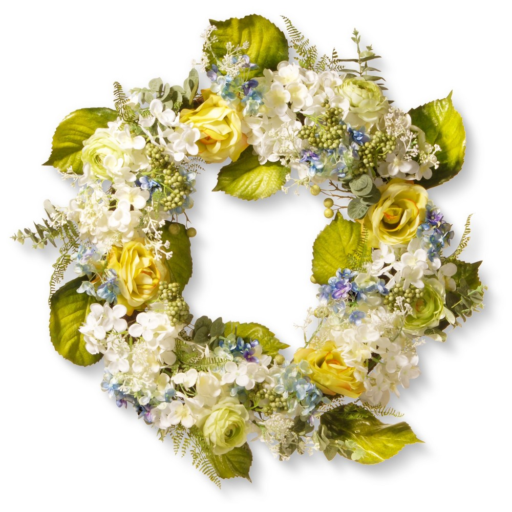 Artificial Spring Flowers Wreath Blue 38 Yellow 30 34 National Tree Company