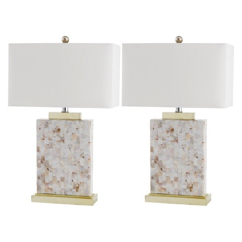 """(Set of 2) 24.5"""" Tory Shell Table Lamp Cream (Includes Energy Efficient Light Bulb) - Safavieh - image 1 of 4"""