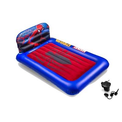 Living iQ Inflatable Portable Small Travel Size Kids Toddler Sleeping Blow Up Air Bed Mattress with Electric Pump and Headboard, Marvel Spiderman