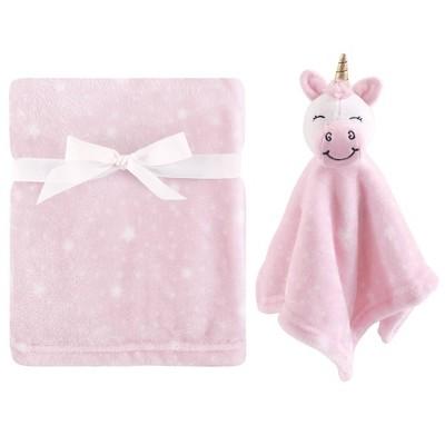 Hudson Baby Unisex Baby Plush Blanket with Security Blanket - Pink Unicorn One Size