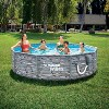 Summer Waves P2W01030A 10 Foot Diameter Round Stone Slate Print Metal Frame Above Ground Back Yard Family Swimming Pool with SkimmerPlus Filter Pump - image 4 of 4