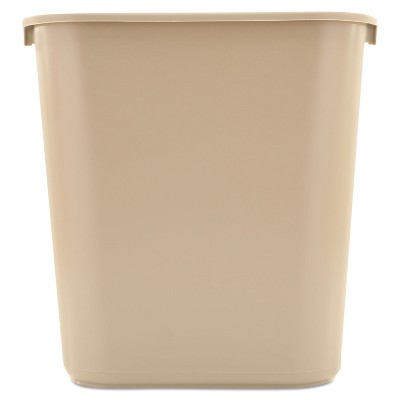 Rubbermaid Commercial Deskside Plastic Wastebasket Rectangular 7 gal Beige 295600BG
