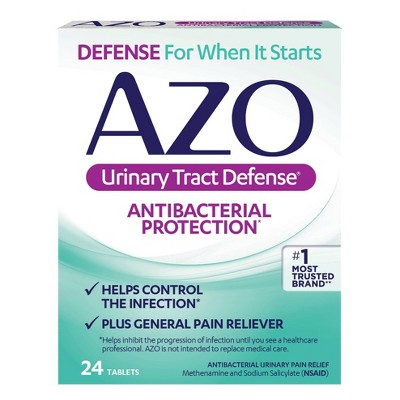 AZO Urinary Tract Defense, Antibacterial Protection + UTI Pain Relief - 24ct