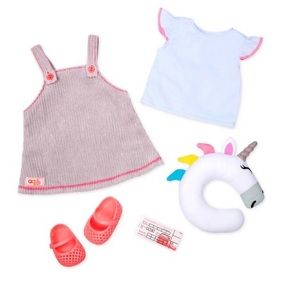 "Our Generation Fashion Outfit with Unicorn Pillow for 18"" Dolls - Travel By Train"