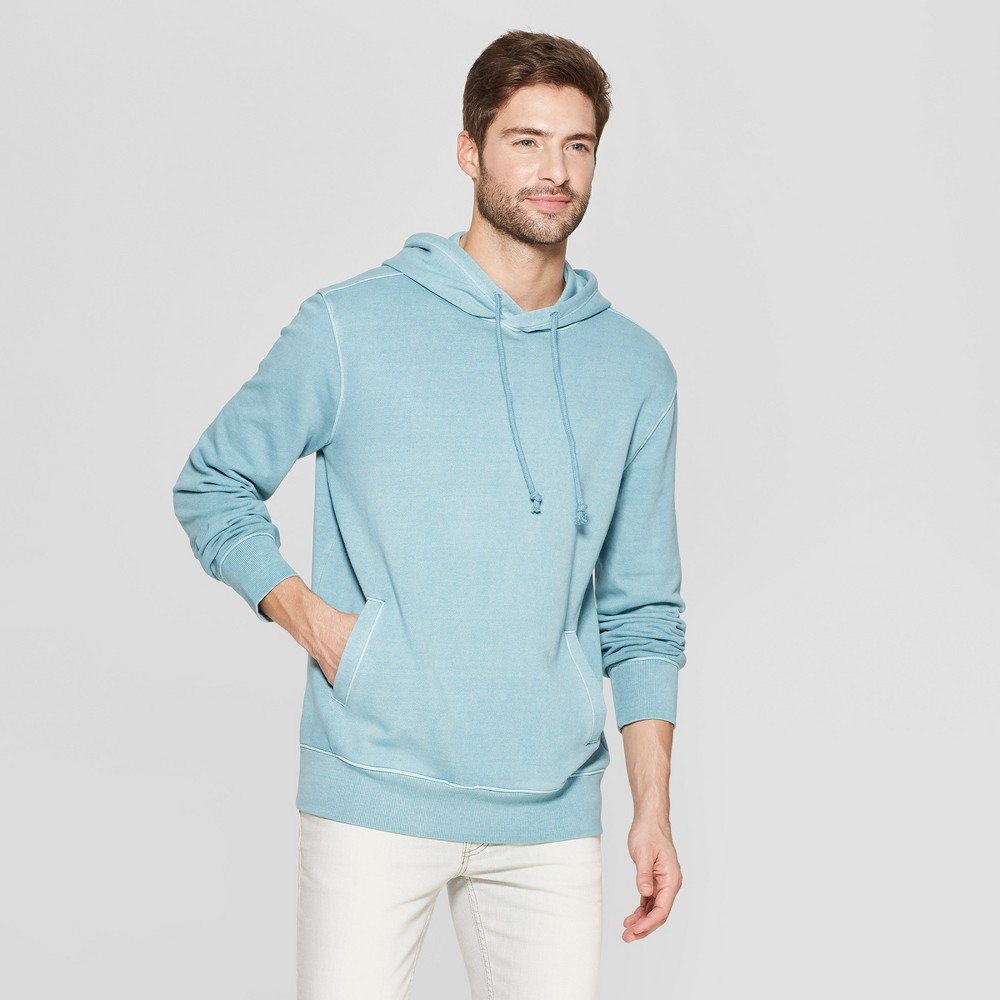 Men's Standard Fit French Terry Pull Over Hoodie - Goodfellow & Co Blue Cohosh 2XL