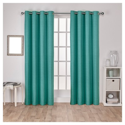 "Set of 2 (108""x52"") Raw Silk Thermal Room Darkening Window Curtain Panels Teal - Exclusive Home"