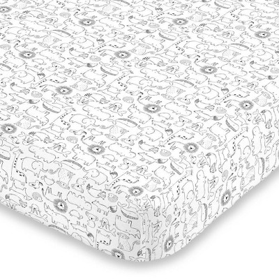 Carter's Safari Animals Super Soft Fitted Crib Sheet - Black and White