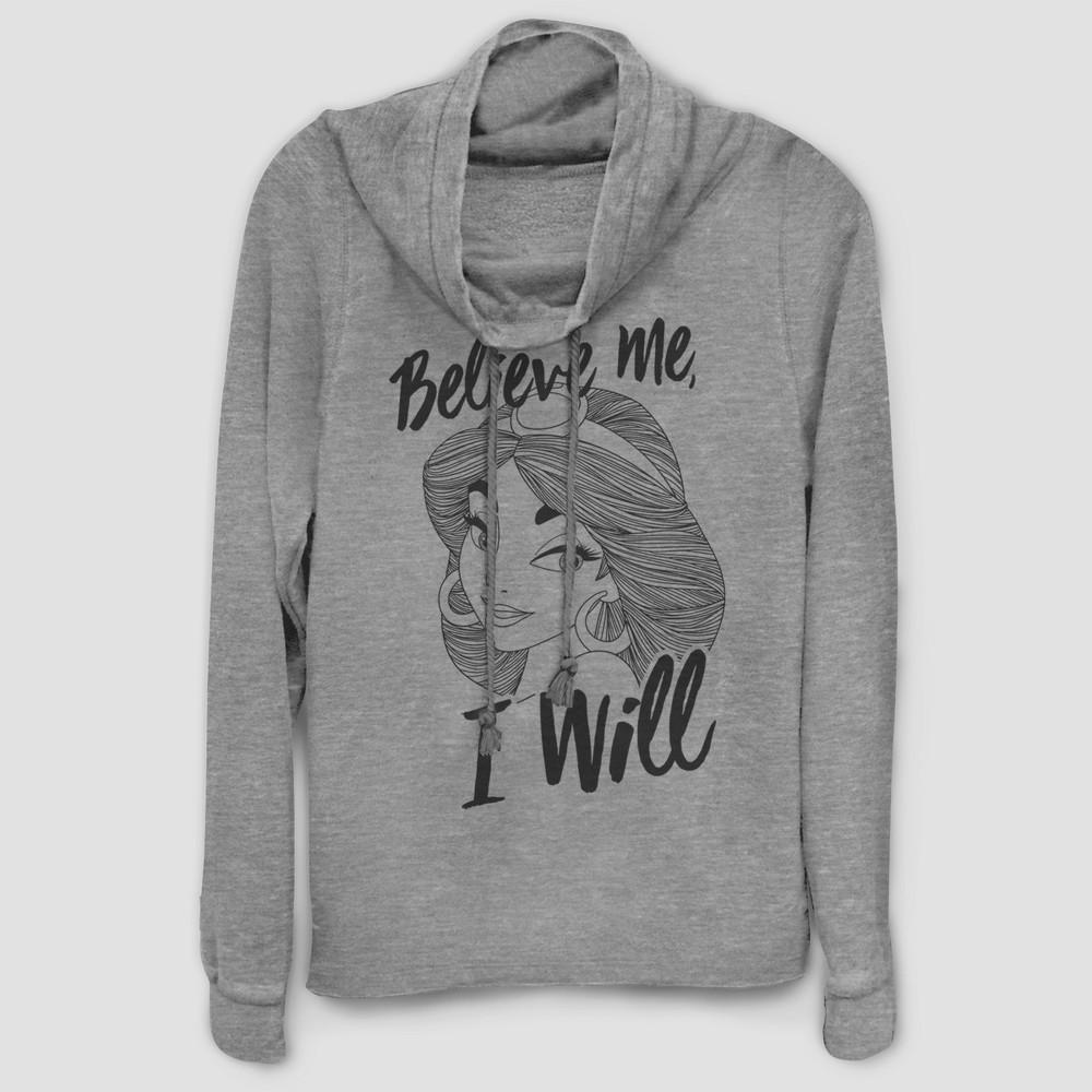 Women's Disney Jasmine Believe Me Sweatshirt - (Juniors') Gray XL