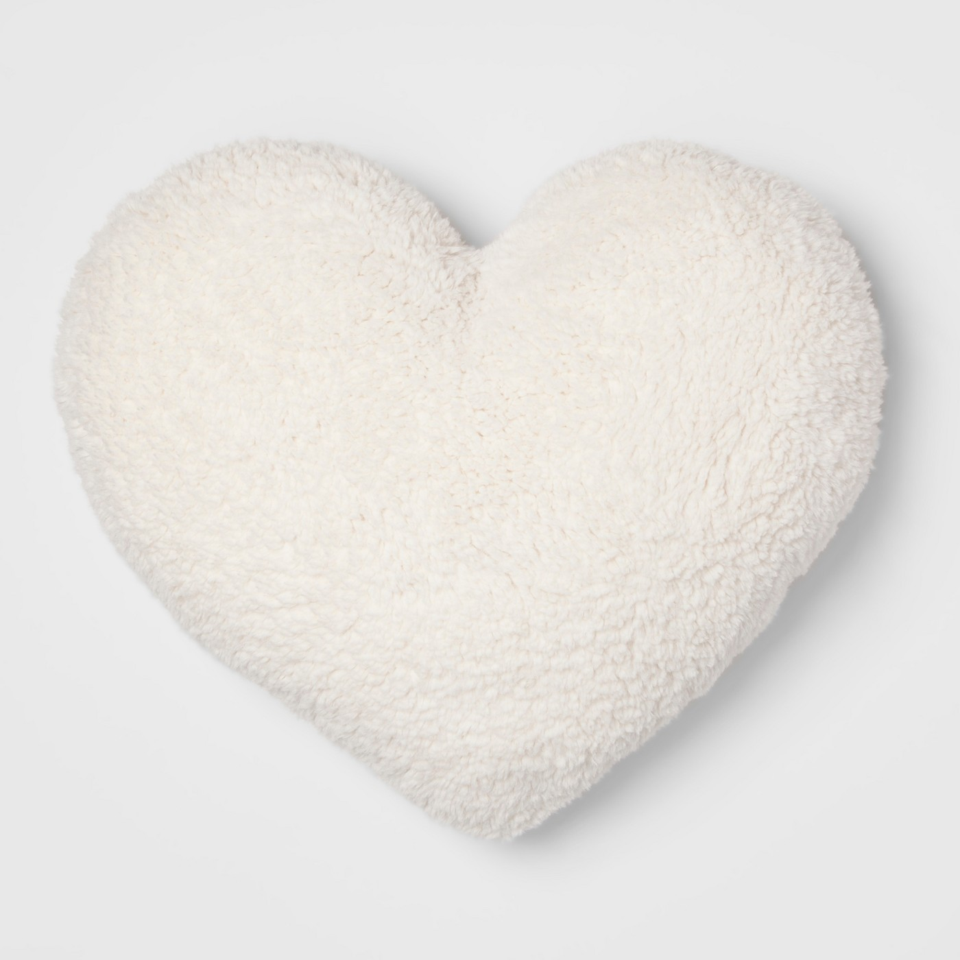 Sherpa Oversize Heart Throw Pillow Cream - image 1 of 2
