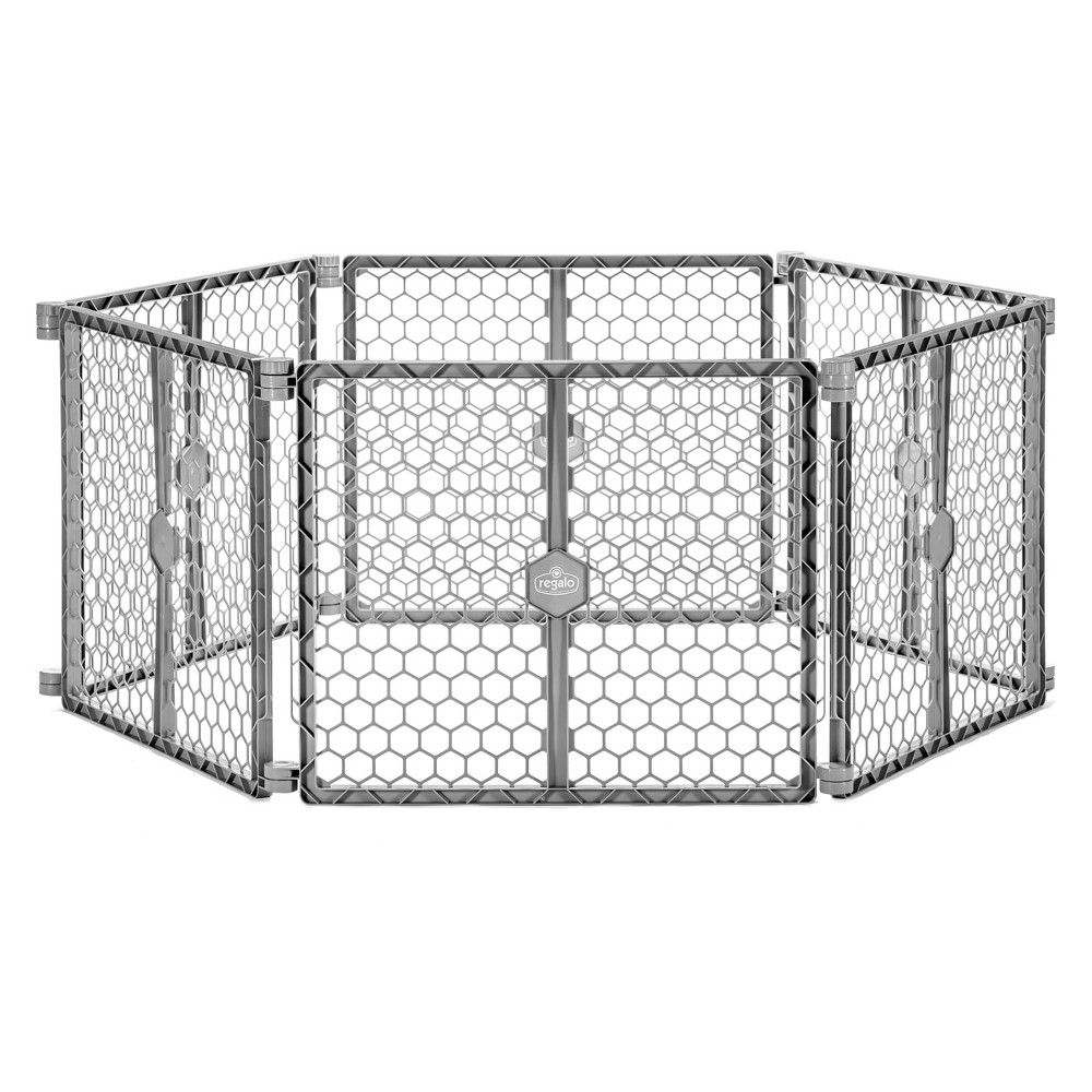 Regalo Plastic Playyard and Super Wide Gate, Gray